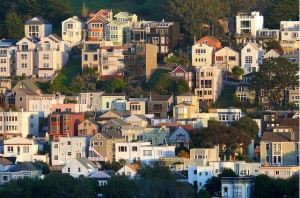 Homes clustered in San Francisco's Bernal Heightds neighborhood.