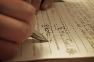 Signing a formal document