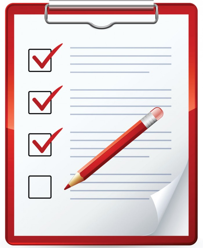Royalty-free clipart picture of a red pencil marking of items on a check list on a clipboard.